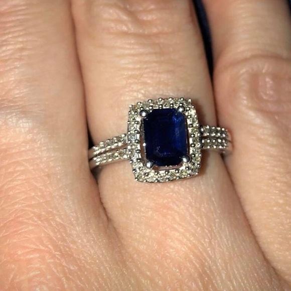 d5a3fb552 Macy's Jewelry | Blue Sapphire And Diamond Ring From Macys | Poshmark
